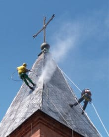cleaning slate roof
