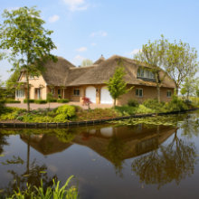 pitched thatched roof